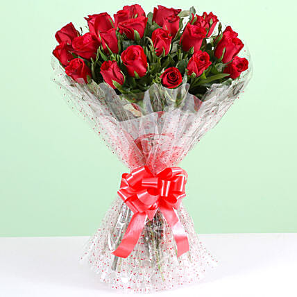 Pure Romance-24 Red Roses Bouquet: Anniversary Flowers