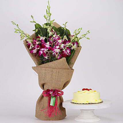 Purple Orchids Bunch & Butterscotch Cake Combo: Flower Bouquet with Cake