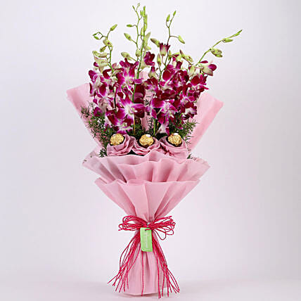 Purple Orchids & Ferrero Rocher Bouquet: Flowers with Chocolates