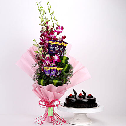 Purple Orchids Posy & Truffle Cake: Cadbury Chocolates