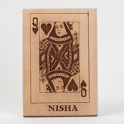 Queen of Hearts Wooden Plaque: Personalised Engraved