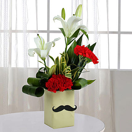 Red Carnation N Leaves Arrangement: Vase Arrangements