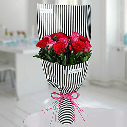 Red N Pink Roses Bunch: Mixed Colour Flowers