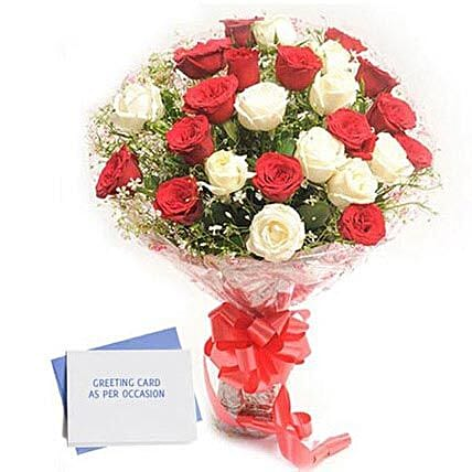 Red N White Roses: Greeting Cards