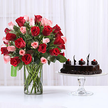 Red & Pink Roses With Truffle Cake: Flower Arrangements