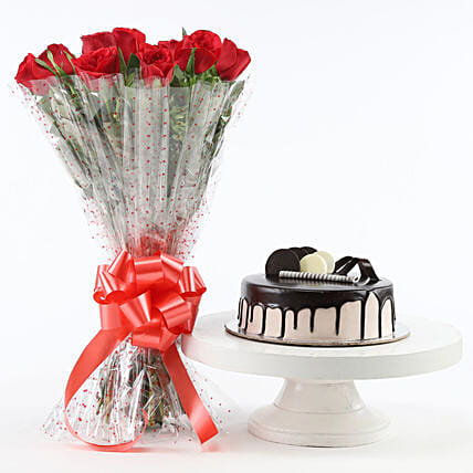 Red Roses And Chocolate Cake Combo Flowers To Nellore