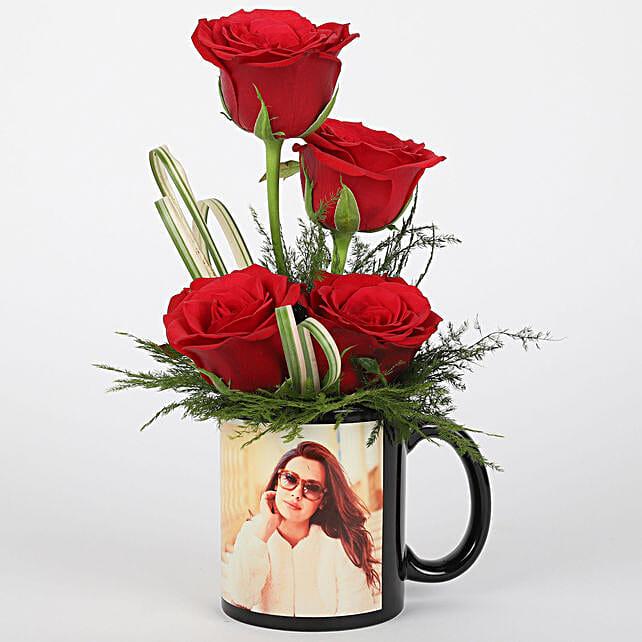 Red Roses in Personalised Black Mug: Flowers N Personalised Gifts