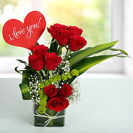 Red Roses Love Arrangement Birthday Gifts For Him