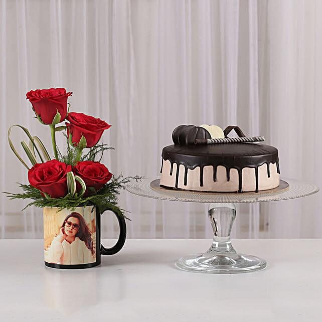 Red Roses Mug & Chocolate Cake Combo: