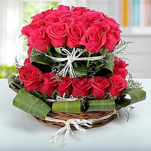Rose Basket Arrangement: Premium Roses