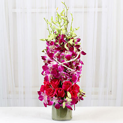 Roses And Orchids Vase Arrangement: Birthday Premium Gifts