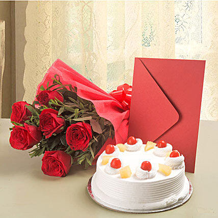Roses N Cake Hamper: Flower N Greeting Card