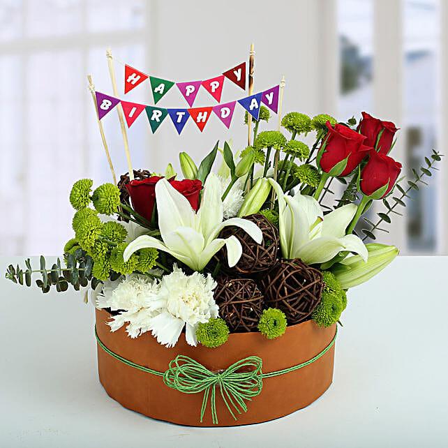 Roses N Lilies Vibrant Arrangement: Carnations