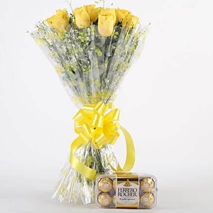 Royal Retreat- Yellow Roses & Ferrero Rochers: Chocolate Bouquet