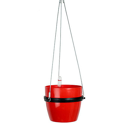 Self Watering Hanging Planter Red: Pots and Planters