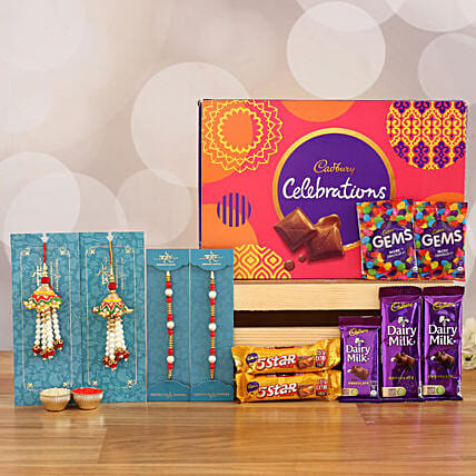 Set of 2 Lumba Rakhi Celebration Combo: Rakhi With Cadbury Chocolates