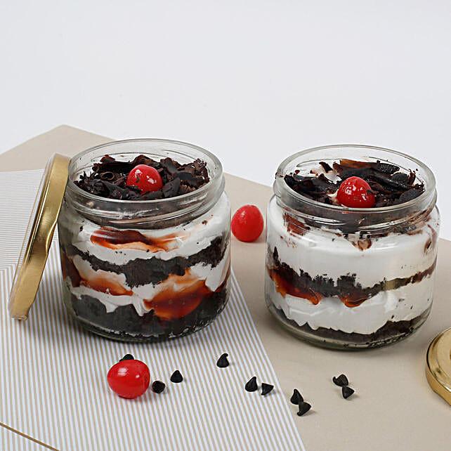 Set of 2 Sizzling Black Forest Jar Cake: Cake in a Jar
