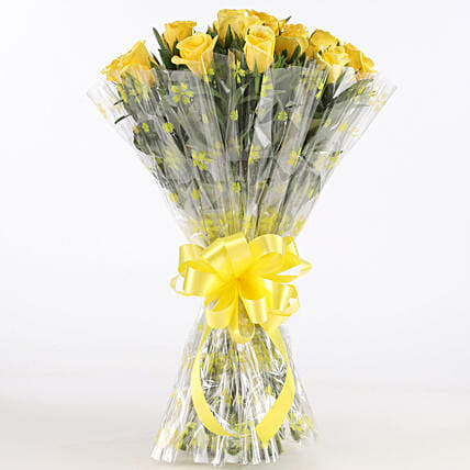 Sunny Side-18 Yellow Roses Bouquet: Yellow Flowers