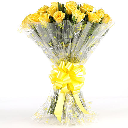 Sunny Side-24 Yellow Roses Bouquet: Roses