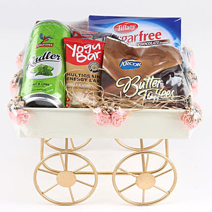 Sweet Hamper In Pink Handcart: Birthday Gift Hampers