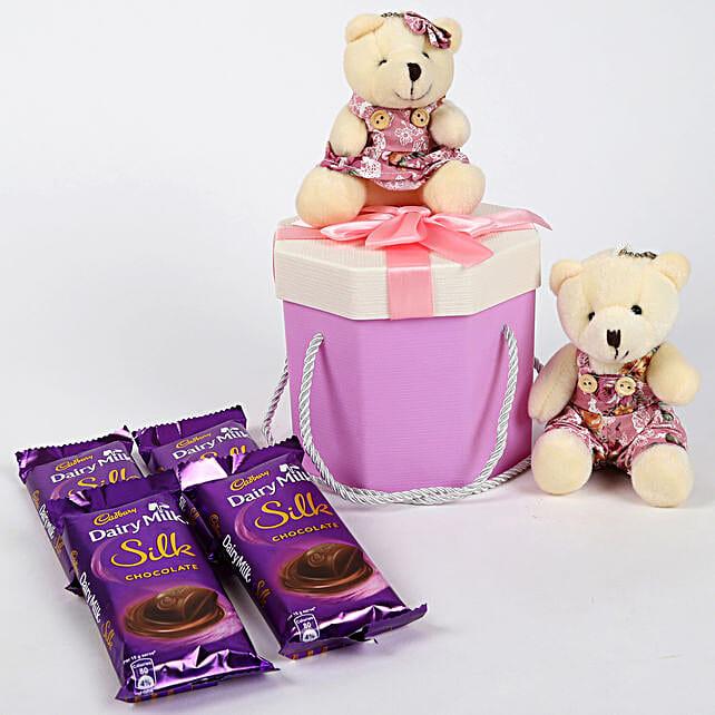 Teddy Bear & Chocolates Purple Box: Chocolates for birthday