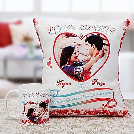 Love Birds Personalised Cuhsion & Mug Combo: Personalised Cushions - Birthday