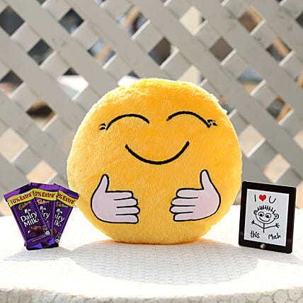The Hugging Smiley Cushion & Dairy Milk Combo: Cadbury Chocolates