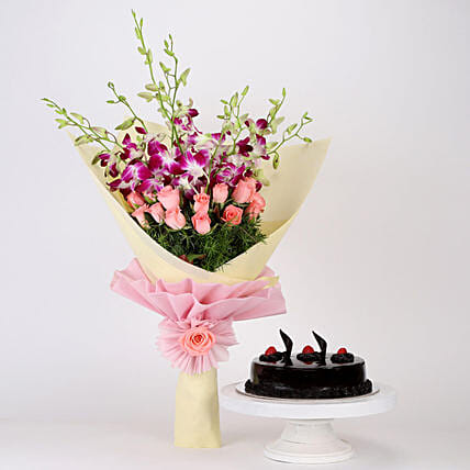 Truffle Cake With Orchids & Roses Bunch: Flowers N Cakes - anniversary