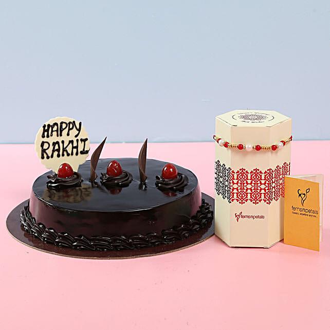 Truffle Cake With Rakhi: Send Rakhi with Cakes