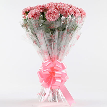 Unending Love-12 Light Pink Carnations Bouquet: Gifts for Anniversary