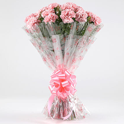 Unending Love-24 Light Pink Carnations Bouquet: Gifts for Anniversary