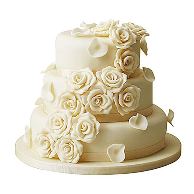 3 Tier White Rose Wedding Cake: Multi Tier Cakes