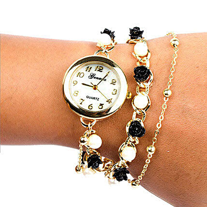 Black N White Pearl Watch For Women: Fashion Accessories