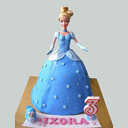 Blue Fondant Barbie Cake:
