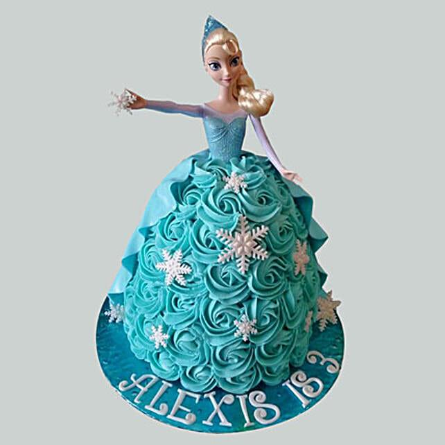Blue Roses Barbie Cake: