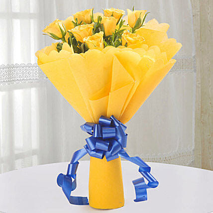 Bright Yellow Roses Bouquet: Wedding Gifts Panipat
