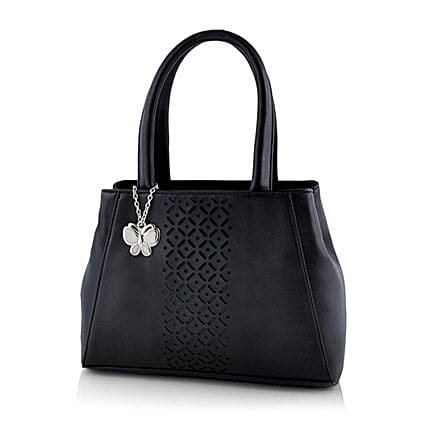 Butterflies Black Classic Handbag: Handbags and Wallets