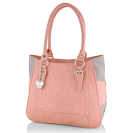 Butterflies Trendy Peach Handbag: Accessories