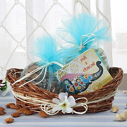 Cane Basket Of Dry Fruits: Bhai Tika Gifts for Bhai Dooj