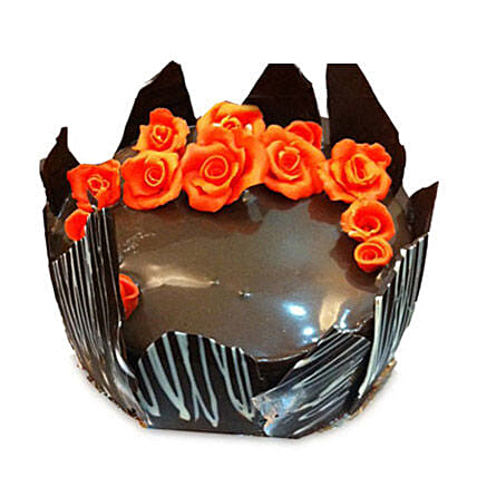 Chocolate Cake With Red Flowers: Wedding Cakes Faridabad