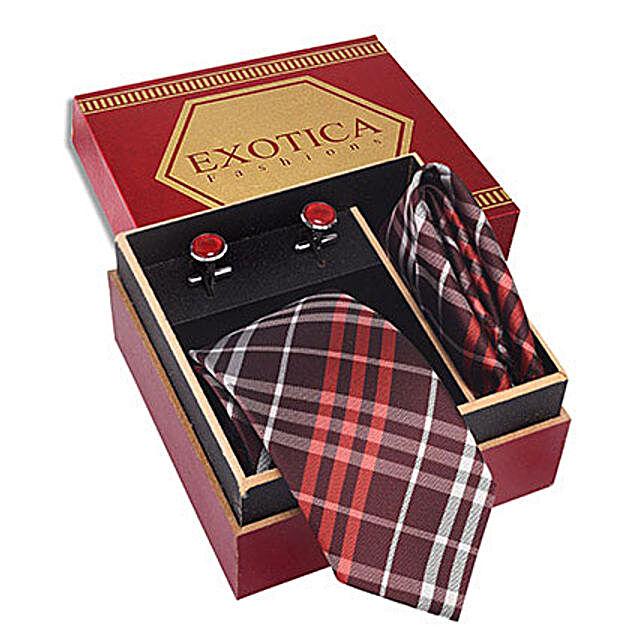 Coffee N Orange Tie Set: Send Ties and Cufflinks