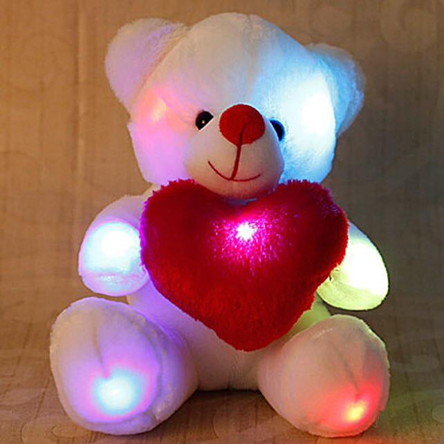 Cuddly White Teddy Bear: New Born Baby Gifts