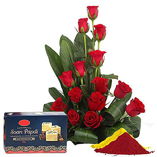 Delightful Holi Combo: Send Flowers & Sweets for Holi