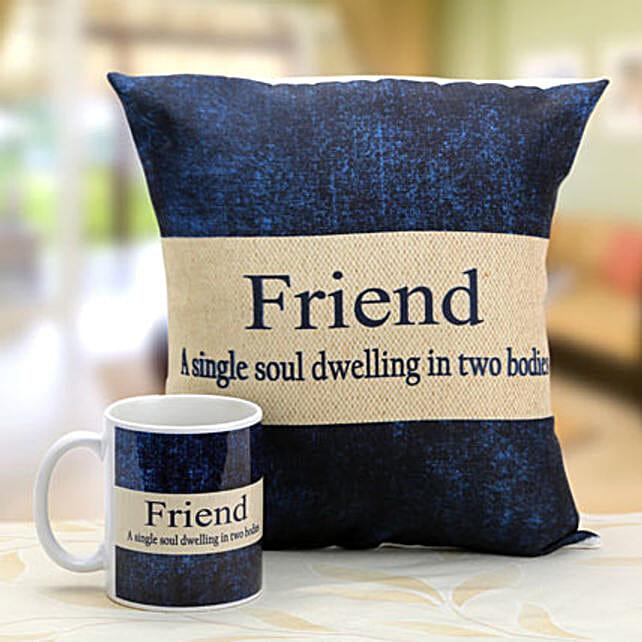 Denim print mug and cushion: Send Friendship Day Gifts to Delhi