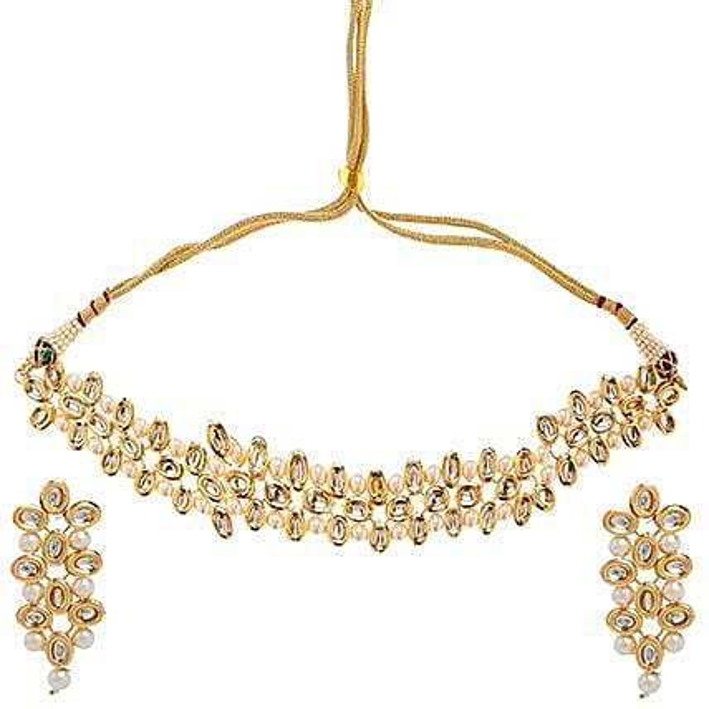 Evening Wear Kundan Necklace Set: Necklaces for Women