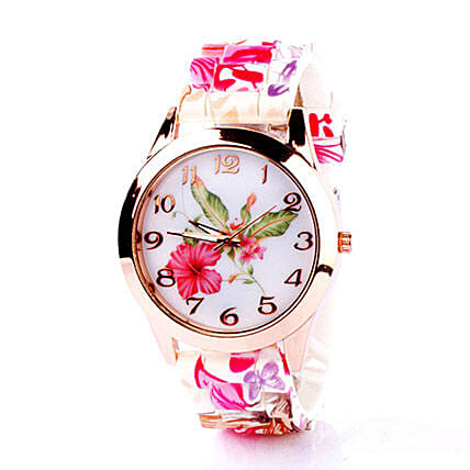 Floral Silicone Watch For Women: Women's Watches