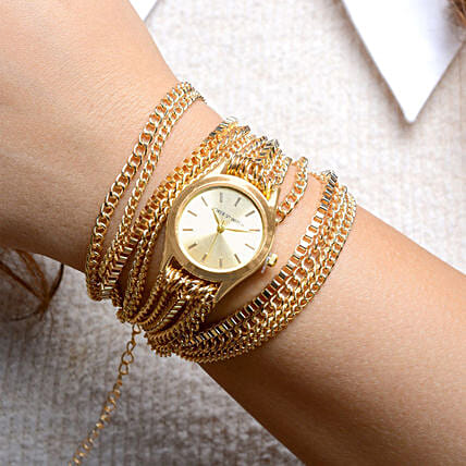 Gold Chain Watch For Women: Accessories