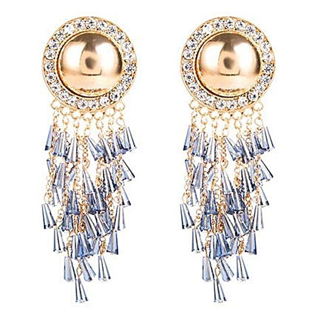 Gold Plated Blue Tassel Earrings: Send Jewellery Gifts