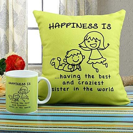 Happiness Mug N Cushion Combo: Send Rakhi to Jabalpur