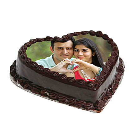 Heart Shape Photo Chocolate Cake: Send Photo Cakes